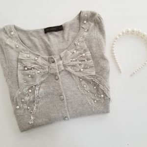 Pearl Embellished bow Cardigan